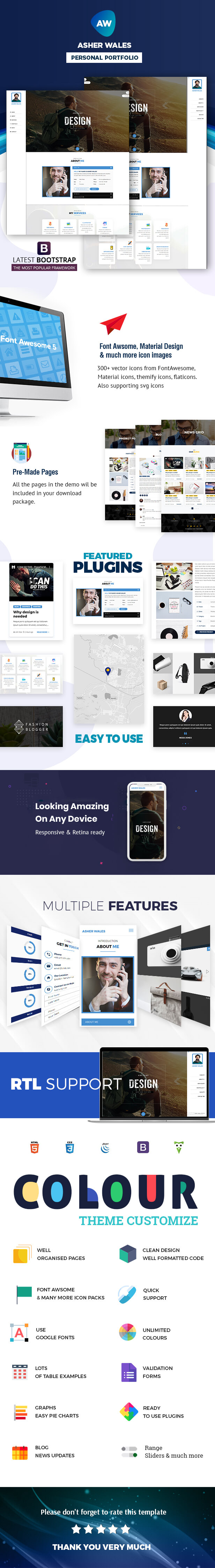 AW | Personal / Portfolio / Resume One Page HTML5 Template - 1